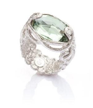 Brigitte Adolph, Ring «Undine», Silber, Prasiolith