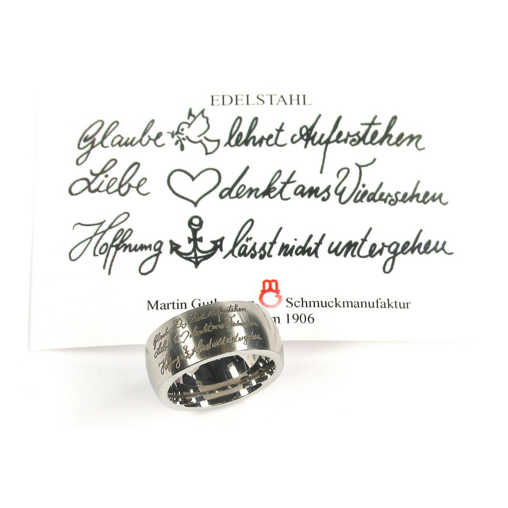 Martin Guthmann, Freundschaftsring, Edelstahl, «Glaube-Liebe-Hoffnung»