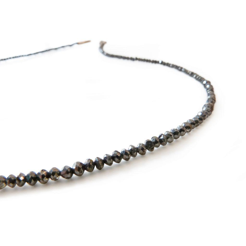 Galerie Spandow, Kette «Diamanten», schwarz, Gelbgold