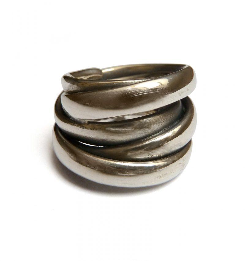 Mike Kircher, Ring «smooth», 19-24 mm breit, Silber, geschwärzt