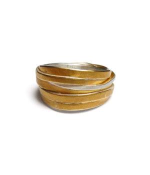 Ute Strothotte, Ring «Gewickelt WR133», 925/- Silber, 900/- Gelbgold