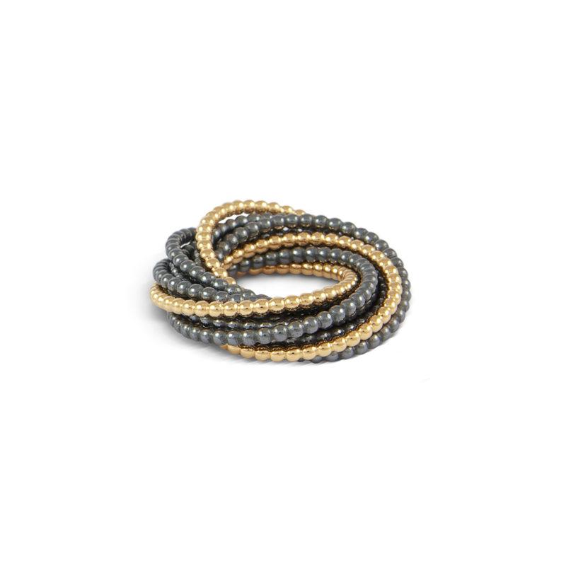 Tanja Friedrichs, Ring «Quiril», mit 11 Ringen, geschwärztes Silber + 750/- Gelbgold