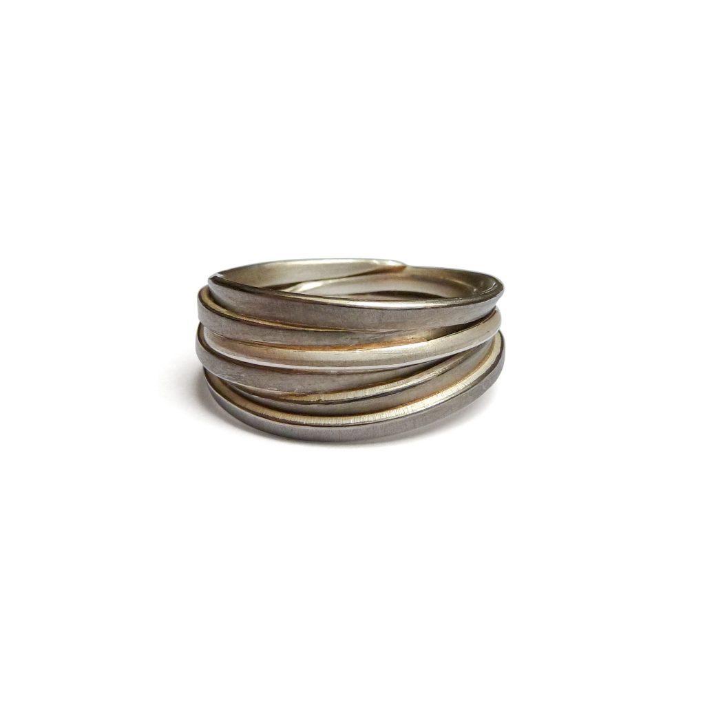 Ute Strothotte, Ring «Gewickelt WR122», 925/- Silber, 500/- Palladium