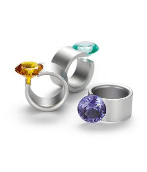 Niessing, Ring «Max», N301910, Edelstahl, Edelstein-Synthese
