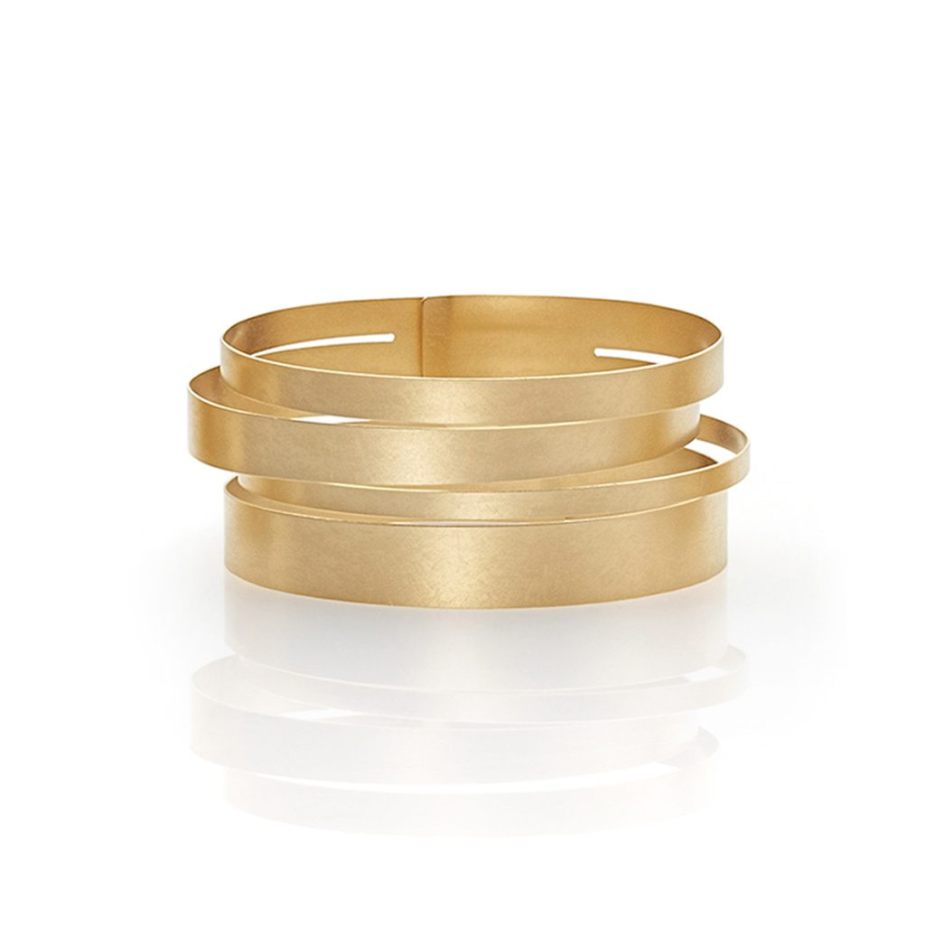 Claudia Hoppe, Armreif «Stripes gemischt», 32 mm, Gold