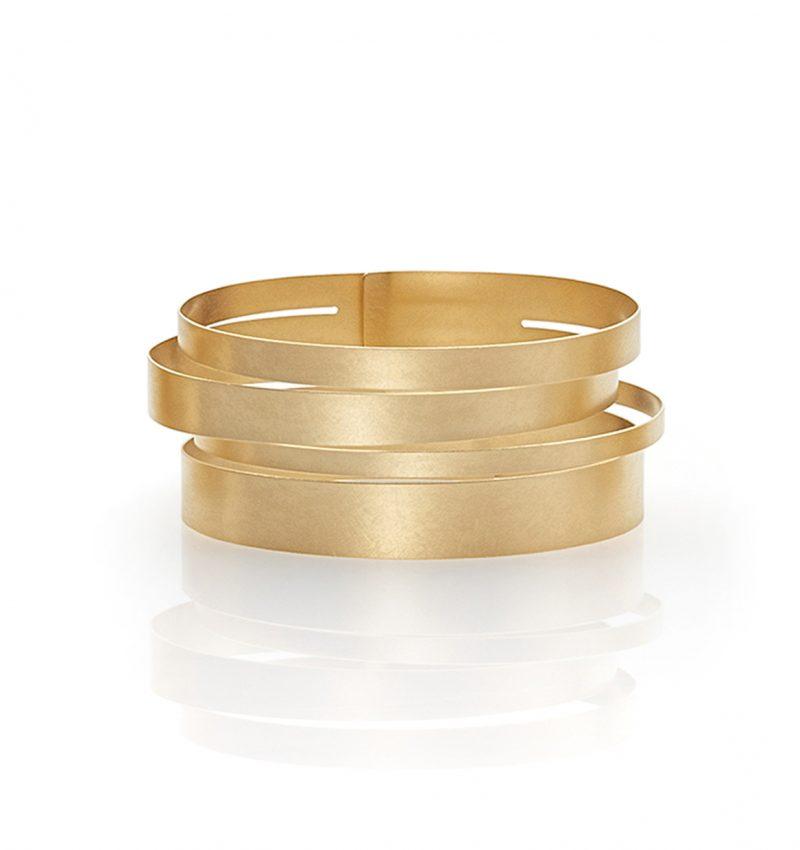 Claudia Hoppe, Armreif «Stripes gemischt», 32 mm, Gold