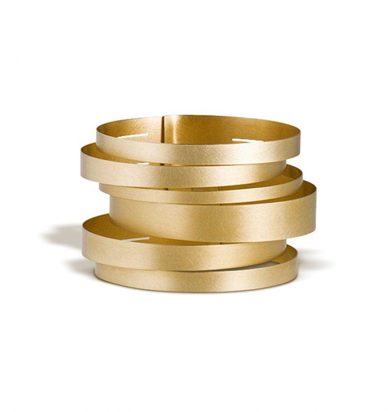 Claudia Hoppe, Armreif «Stripes gemischt», 48 mm, Gold
