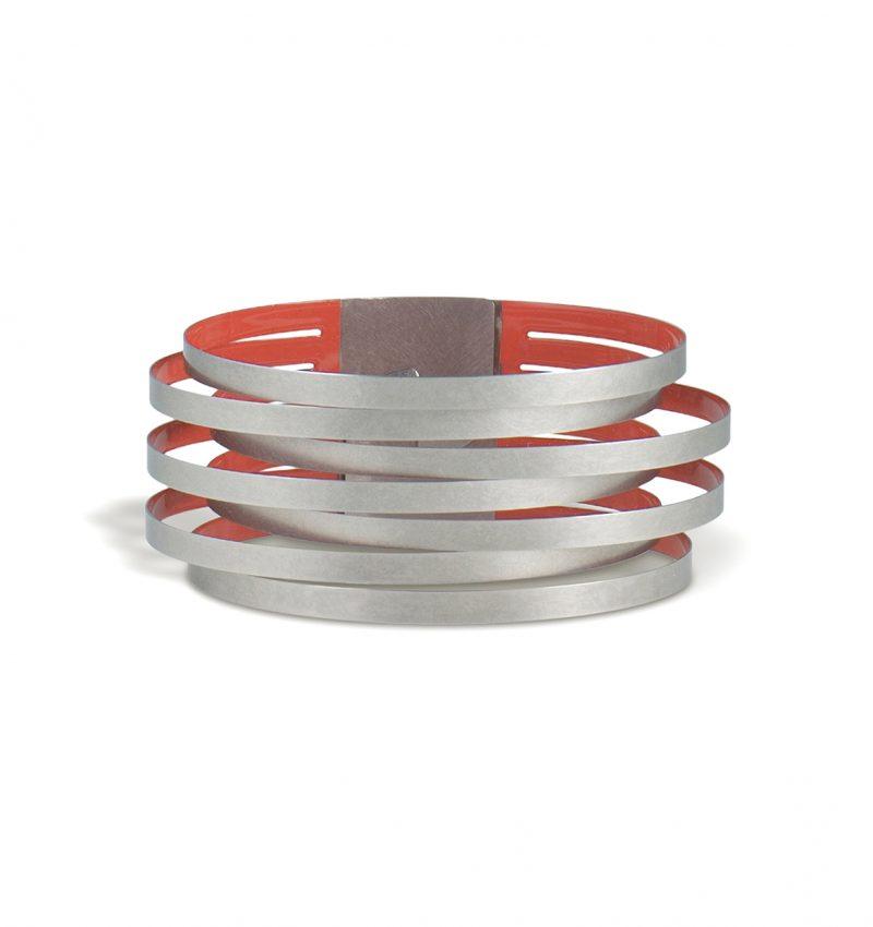 Claudia Hoppe, Armreif «Stripes schmal», 32 mm, Edelstahl, Lack, rot