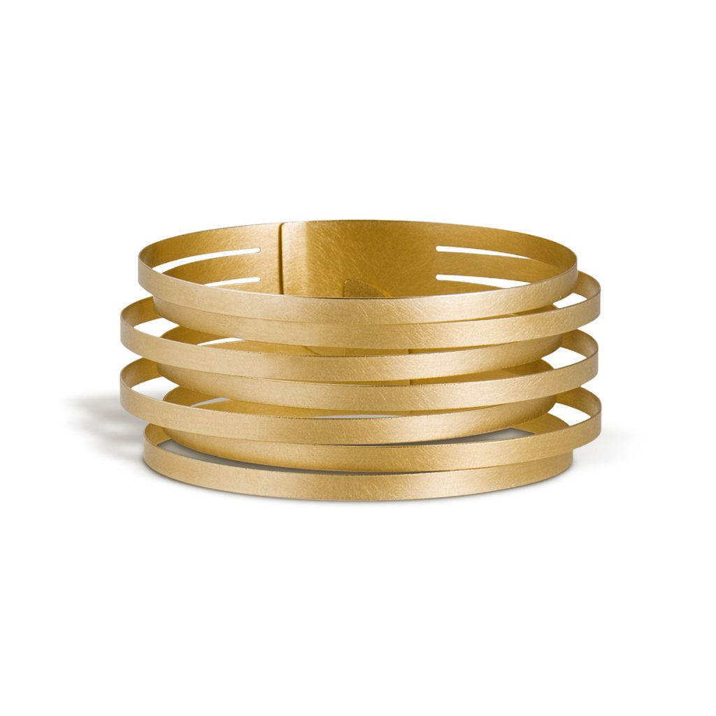 Claudia Hoppe, Armreif «Stripes schmal», 32 mm, Gold
