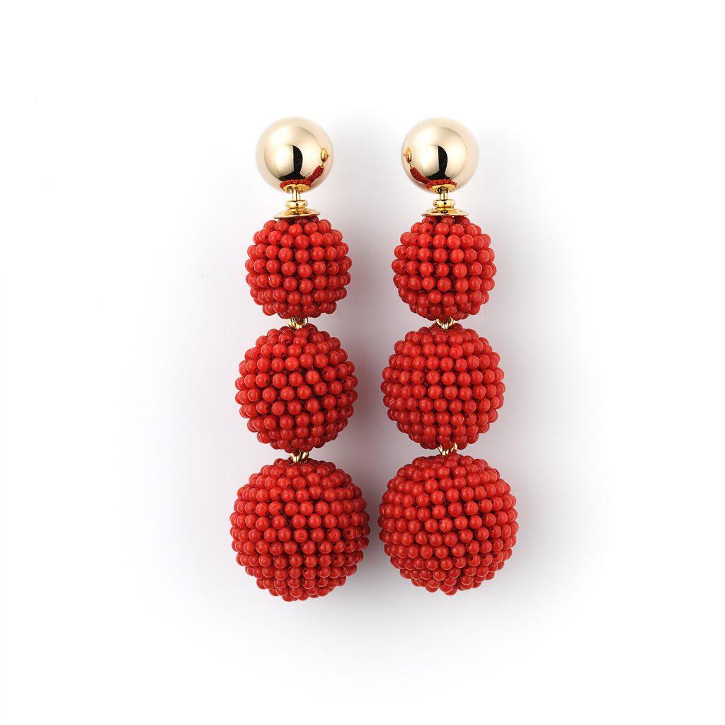 Christine Köppel, Ohrringe «Korallen-Kaviar», Gelbgold, rote Korallen