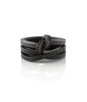 Oliver Schmidt, Trauringe «Knoten 300P + 340P / 2,5», Edelstahl, PVD schwarz, schwarze Brillanten