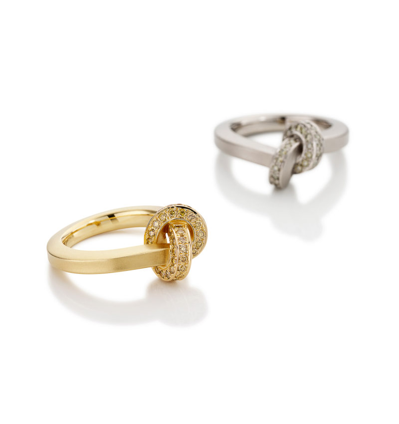 Oliver Schmidt, Ring / Trauring «Knoten 300.1.P / 4,0», 750/- Roségold, Brillanten