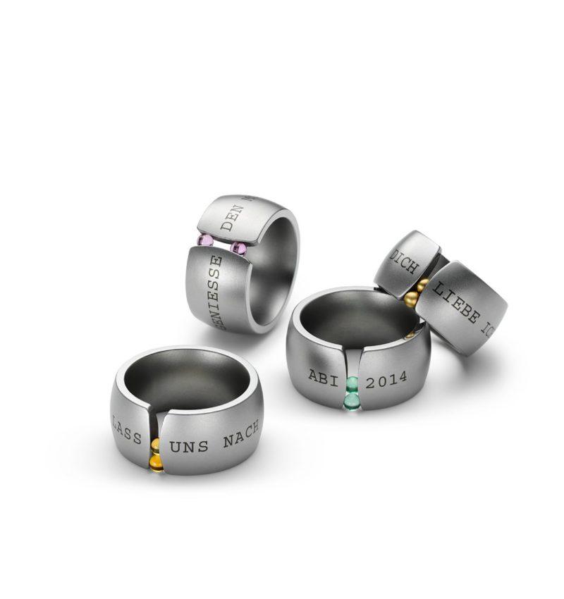 Niessing, Ring «Courier», N281201, Lasergravur, Edelstahl, Synthese- oder Goldkugeln