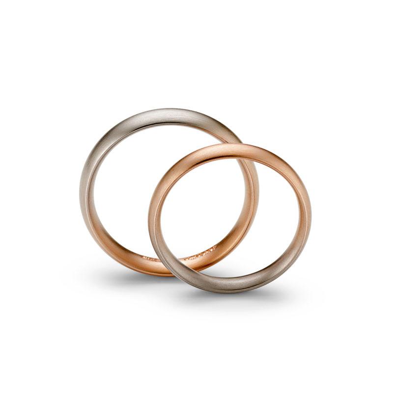 Niessing Trauringe »Aura Navette«, N261590, 750/- Gold mit rot-grau Farbverlauf